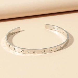 Silver color number engraved cuff bracelet